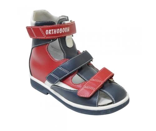 Ортопедические ботинки летние арт.81057-02 красно-синий с белым
